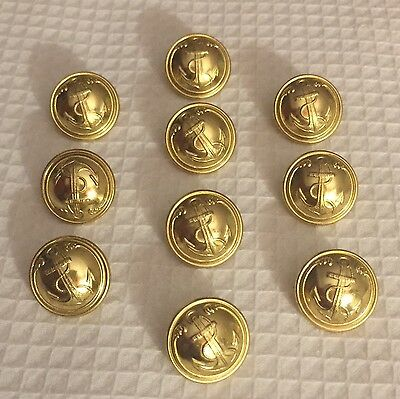 French Vintage Navy Military Brass Gilt Button T W & W 20mm Paris Anchor NOS