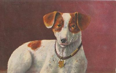 Vintage Art Postcard PC Fox / Jack Russell Terrier Dog  Germany c1910 H K & Co