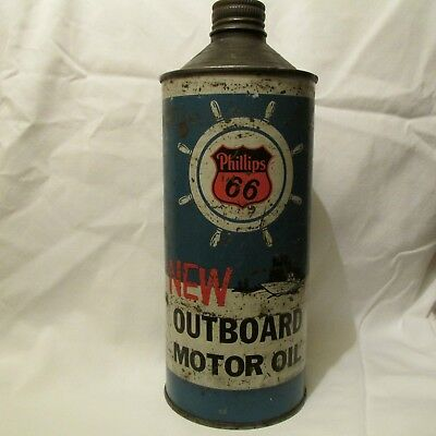 Phillips 66 Outboard Motor Oil Can...Great Graphics...See Pics