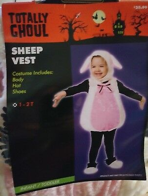 Pink Toddler Lamb Sheep Vest Costume Dress-Up Playtime photos. Size 1-2T