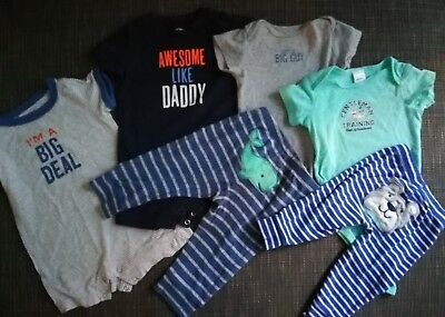 Carter's Lot Baby Boys Short Sleeve Bodysuits Rompers Pants Spring Size 9 Months
