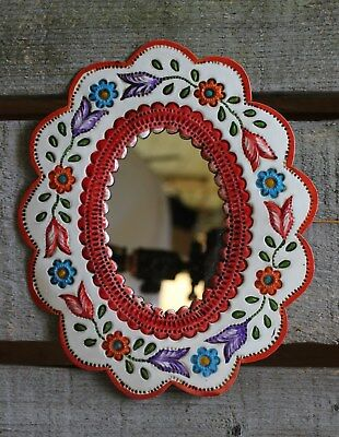 Enamel Mirror with Flowers Vertical or Horizontal Mexican Folk Art Shabby Chic