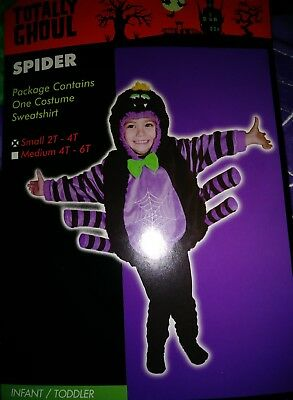 SPIDER COSTUME Sweatshirt w/Hood attached PURPLE size 2T-4T