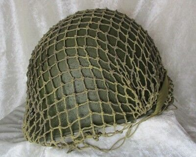 WW2 US American Fixed Ball Front Seam M1 Army Helmet + Net