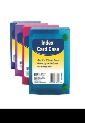 "Lot of 4 C-LINE Poly Index Card Cases Holds 100 3"" x 5"" Cards"