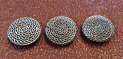 3 x VINTAGE METAL BUTTONS, COILED ROPE PATTERN, SILVER COLOUR, 25mm