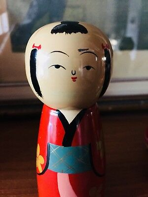 """Handpainted VINTAGE WOOD JAPANESE KOKESHI DOLL LACQUERED 4.5"""" TALL,Red Kimono"""