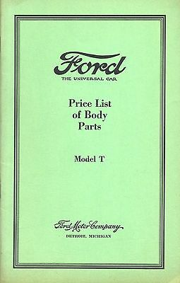 Ford Model T Price List of Body Parts 1927 (reprint)   W4