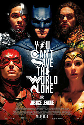 JUSTICE LEAGUE MOVIE POSTER 2 Sided ORIGINAL FINAL 27x40 BEN AFFLECK GAL GADOT