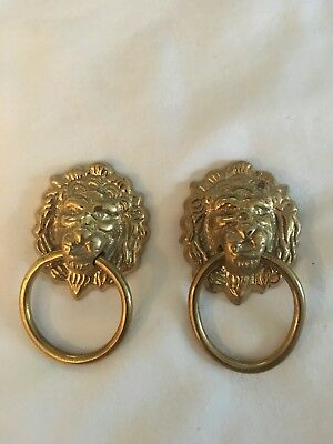 Pair of Vintage  Brass Lion Head Drawer Pulls
