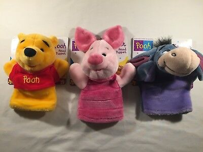 "Winnie the Pooh - LOT of 3 - 10"" hand puppets - Pooh, Piglet, Eeyore"