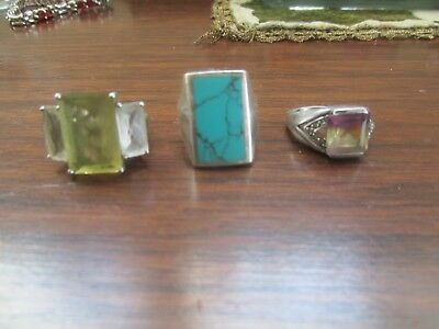 Sterling Silver Ring Lot ametrine tuerquiose size 7