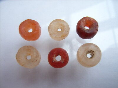 6 Ancient Neolithic Carnelian, Rock Crystal Beads, Stone Age, VERY RARE!  TOP !