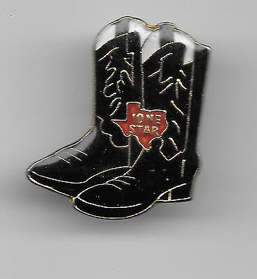 Vintage Pair Black with gold Lone Star Cowboy Boots old enamel pin