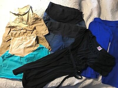 Lot of 8 Summer Maternity Clothes Womens Size XL Shorts Black Dress Capris