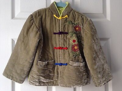 Chinese Silk Velvet Embroidered childs padded jacket, size 4 year, (vintage?)