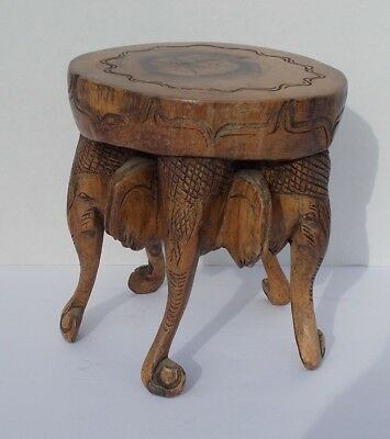 "Elephant Wood Table - Stool w/ 5 Figures Hand Carved One Piece of Wood 6"" Tall"