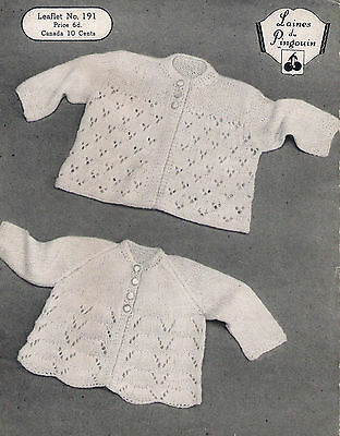 Vintage Knitting Pattern Laines du Pingouin 191 Baby Two Matinee Coats 18-19""