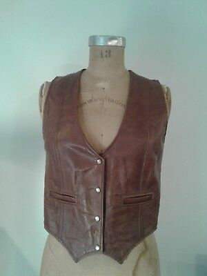 Overland Sheepskin Co Vintage Women's Leather Vest Taos, New Mexico
