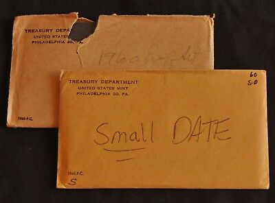 Lot of Two 1960 (Small and Large Date) US Proof Sets -- Original Mint Envelopes