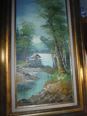 Vintage Painting & Frame By G. Whitman, Original Oil,  Authenticity Sticker.