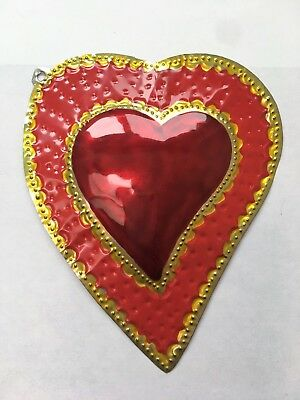 """Mexican Punched Tin Red and Gold Painted Heart 5.5"""" Tall x 4.5"""" Wide Valentine"""