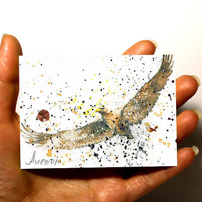 "ORIGINAL MINIATURE ART Animal PICTURE WATERCOLOR PAINTING ""Eagle"" artist ACEO"