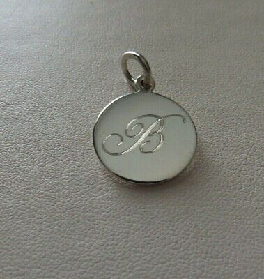 Vtg Tiffany & Co Sterling Silver Charm Pendant Engraved With The Initial B