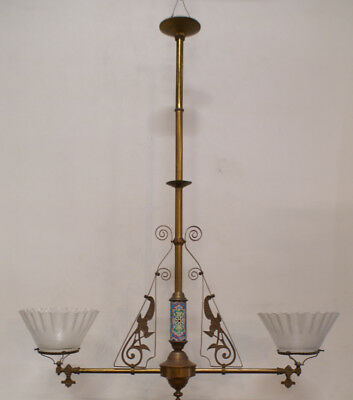 2-arm Aesthetic Gas Fixture Chandelier Etched Shades eastlake longwy