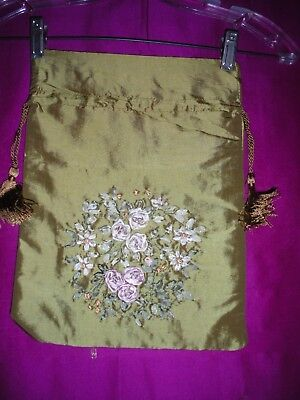 Green Silk Drawstring Bag With Embroidered Flowers- New
