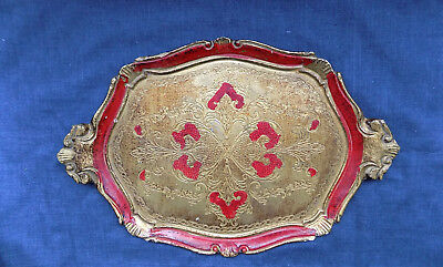 Antique Florentine Handmade Floral-engraved Gold-painted Wooden Tray from Italy