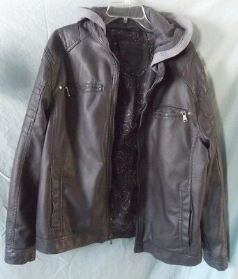 Urban Republic Brand Brown Mens Large L Hooded Faux Leather Moto Jacket Coat
