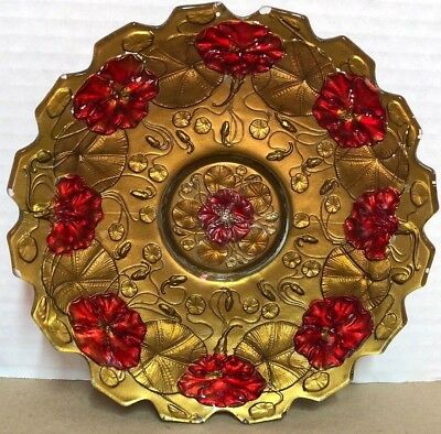 """ANTIQUE Painted Glass Plate - GOLD RED - 8"""""""