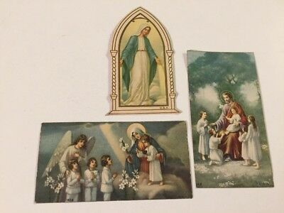 Lot Of 3 Vintage Holy Cards Jesus & Mary with Children 1920s Made In USA