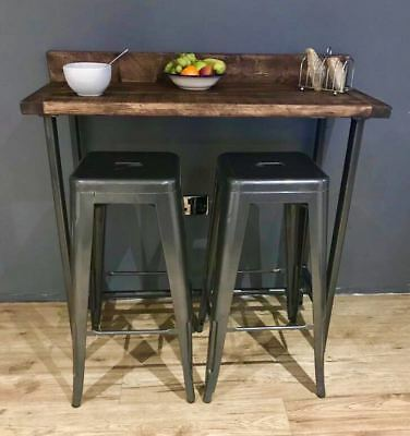 Reclaimed Wood Breakfast Bar Table And 2 Stools Set / Industrial Chic Steel  Legs