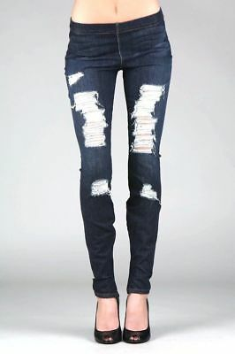 bac48a59d681b JOE'S JEANS Legging Ankle Zipper Skinny Jeans Jeggings Dark Destroyed Blue  $99