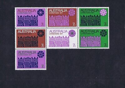 Australian Decimal Stamps 1971 7c Christmas Block of 7 Stamps MNH