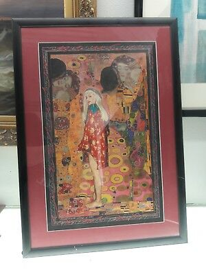 Painting with Collage of Gitta Signed Marcus Uzilevsky dated 1998 Mixed Media