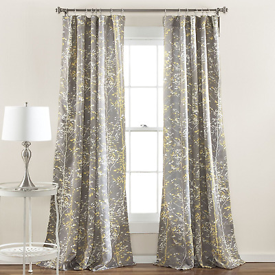 "Lush Decor Forest Window Curtain Panel Set of 2, 84 x 52"", Gray/Yellow"