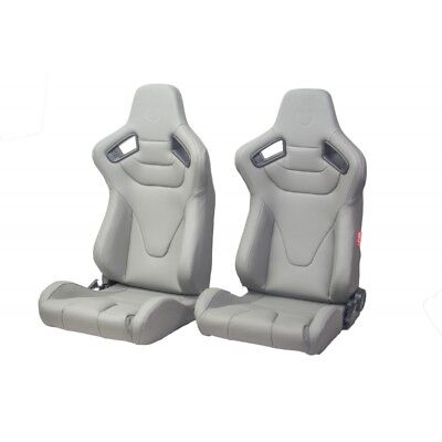 Cipher Auto Premium Racing Seats Grey Leatherette New Pair w/Sliders 2009RS-PGY