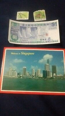 SINGAPORE Paper Money $1, post card and stamps