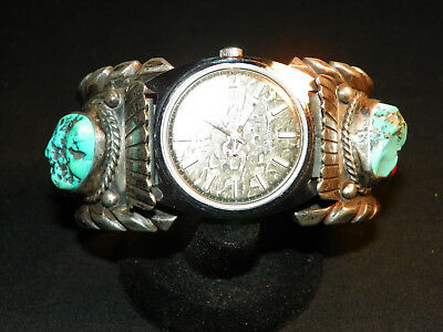Chunky Sterling -Turquoise & Coral Navajo Watch Cuff Bracelet, Signed Lee - 151g