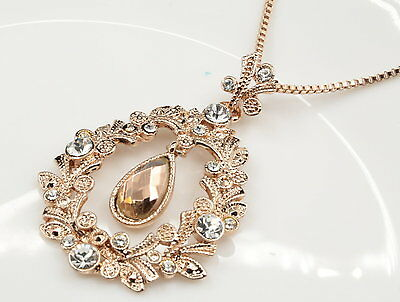 wedding vines champagne crystal pendant rose gold plated necklace jewelry N20