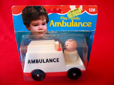 Vintage Fisher Price Ambulance New in Package~On Card