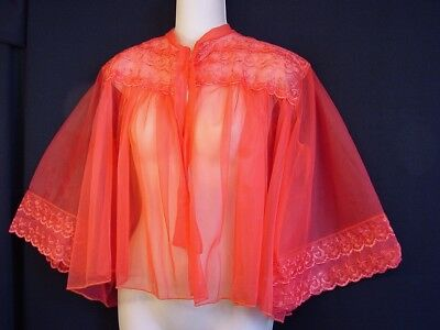Fiery Vtg 50s Orange-Red Sheer Embroidered-Chiffon Angel-Sleeve Swing Bed Jacket
