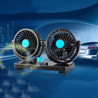 DC12V 360° Rotation Dual Radiator Cooling Fan Assembly Car Truck Van Air Cooler