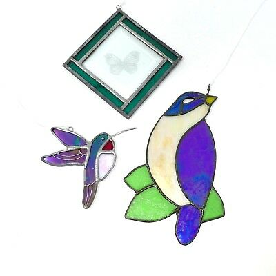 Lot Stained Glass Window Hangings Sun Catchers Hummingbird Blue Bird Butterfly