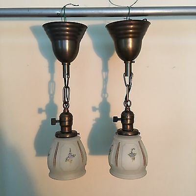 "16"" Brass Pendant Light Fixture Pair W/ Antique Shades Newly Wired 30B"