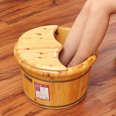 Foot basin wooden bucket foot bath tub plus cover and massage 足浴桶加厚泡脚加盖和按摩器