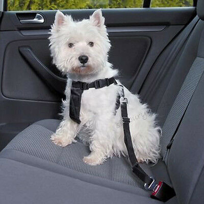 Adjustable Dog Harnesses Car Pet Safety Seat Belt Lead Nylon Restraint Strap UK